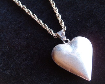 Necklace, Vintage Sterling Silver Heart Pendant with Chain