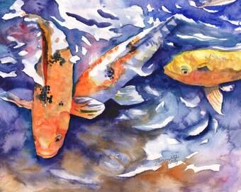 Koi 8x10 art prints, koi fish art, asian koi paintings, koi pond, orange koi, yellow koi, gifts for him, orange and black koi, feng shui art