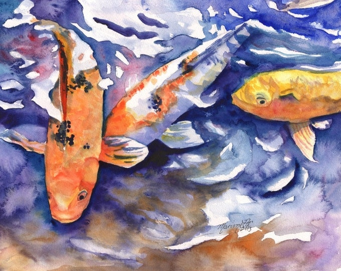 Koi 8x10 art prints, koi fish art, asian koi paintings, koi pond, orange koi, yellow koi, gifts for him, orange and black koi, feng shui art