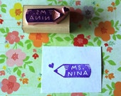 Personalized rubber stamp for teacher - hand carved rubber stamp