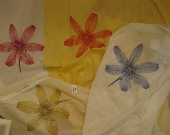 "Romanex Lily Lilies Floral Voile Sheer Designer Fabric Sample 28"" x 40"" SALE Pick a COLOR"