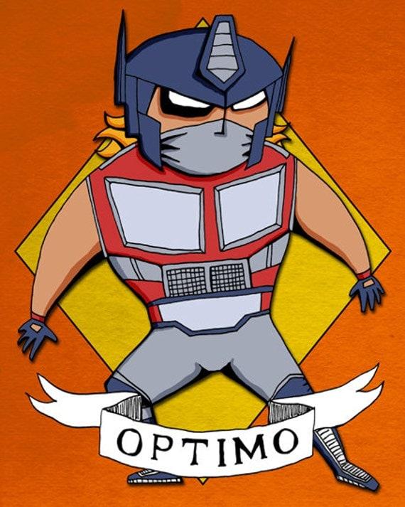 Optimo Lucha Libre Art Print Illustration Optimus Prime