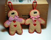 Christmas Gift Tags Ornaments Gingerbread Men Set of Two