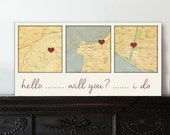 Map Canvas Gift 1st anniversary Gift  Map canvas 3 locations , Cotton Anniversary Gift Custom Map Art, personalized couple