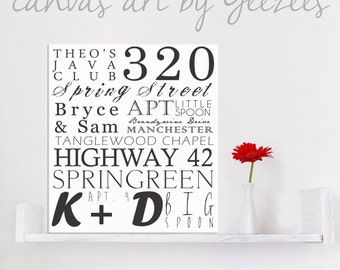 "Typography ""ELITE"" Series Word Art Canvas art personalized Words and phrases wall art 10x14"
