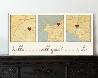 Couples gift 3 map Wedding or Cotton Anniversary Gift Custom Map Art using Three Location, Hello Will You I do