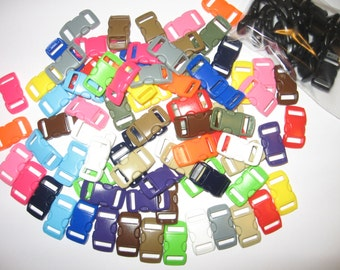 "100 3/8"" curved side release buckles 20 black & 80 colored for paracord bracelets"