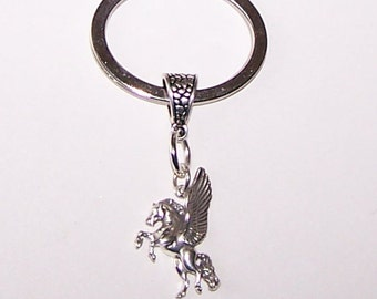 Sterling PEGASUS Key Ring - Key Chain - Fantasy, Renaisssance, Whoa Team