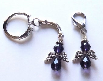 Purple Survivorship & Awareness Angel Purse Charm or Key Chain - ACS Relay for Life Donation - Ready to Ship