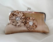 THE CHAMPAGNE Bridesmaid clutch  with handle in  dupioni silk with large rosettes and chain handle bri