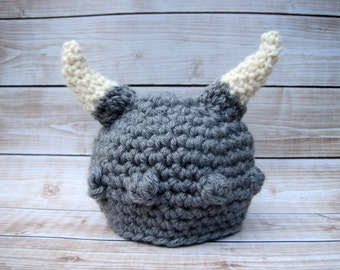 Baby Boy Viking Hat, Newborn Viking Hat, Infant Baby Hat, Boy Halloween Hat, Infant Costume, Baby Photo Hat, Boy Baby Beanie, Grey