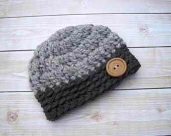 Newborn Boy Hat, Baby Boy Hat, Hat for Boys, Boy Baby Hat, Newborn Hat, Infant Hat, Infant Winter Hat, Crochet Baby Hat, Boy Beanie, Grey
