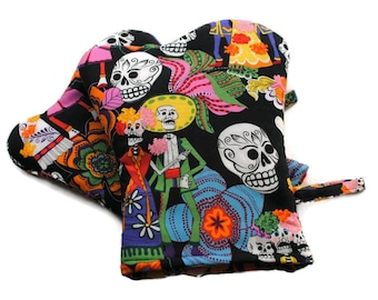 Handmade Oven Mitts Set of 2 Day of the Dead Black BBQ Mitts