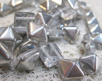 15 Two Hole Silver Pyramid Stud Czech Pressed Glass Beads 12mm