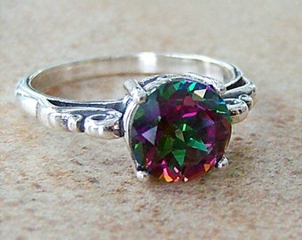 2ct Mystic Topaz Sterling Silver Ring, Cavalier Creations