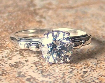 7mm Cubic Zirconia by Swarovski set in Sterling Silver Ring, Cavalier Creations