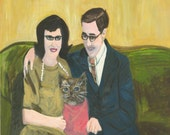 Unexpected arrival, a family portrait.  Original oil painting by Vivienne Strauss.