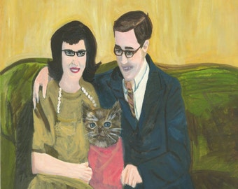 family portrait - Unexpected.  Original oil painting by Vivienne Strauss.