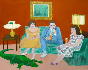 The Fisher family adjusts to Florida living.  Limited edition print by Vivienne Strauss.