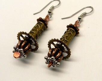 Steampunk jewelry.  Mixed metal jewelry earrings.