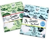 Tea Towel Seattle Neighborhood Blue Green on White Flour Sack 100% Cotton