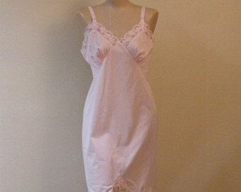 Baby Pink Full Slip Perfection 60s Vintage 38 Bust