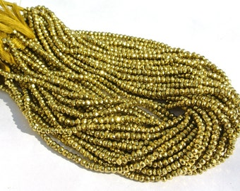 Metallic Green Coated Pyrite Micro Faceted Rondelles Length 14 Inches Size 3.5mm approx