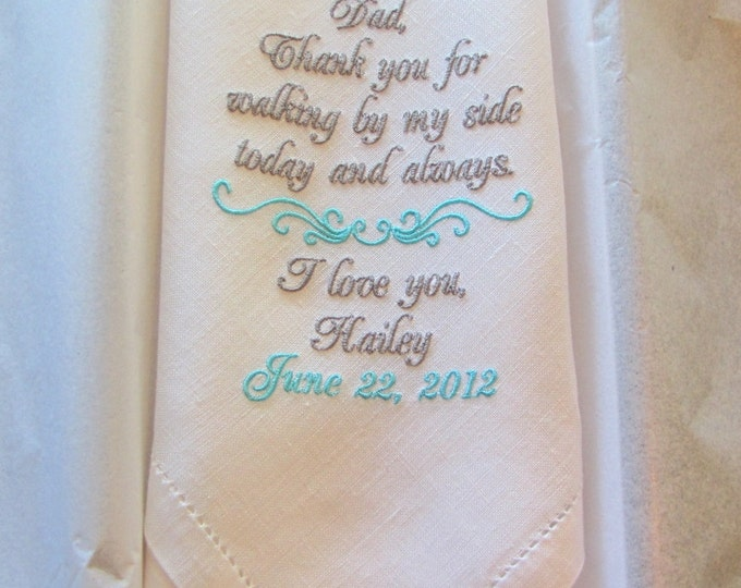 Father of the Bride Custom Embroidered Imported Irish Linen Wedding Handkerchief, Hanky, Hankie