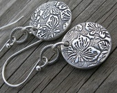 Sterling Silver Lilac Link Coin Earrings PMC