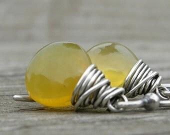 Honey Opal Oxidized Sterling Earrings