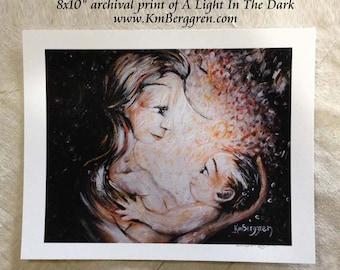 A Light In The Dark, breastfeeding at night archival art print
