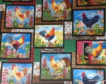 Roosters Chicken Country Farm Morning Eggs Floral Custom Sewn Curtain Valance