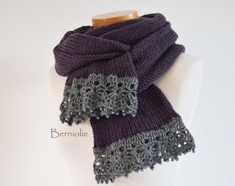Knitted scarf, purple / plum with grey lace trim and pearly glass beads K102