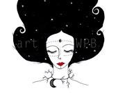 Pelo de noche/Night hair. Illustration. Art Print