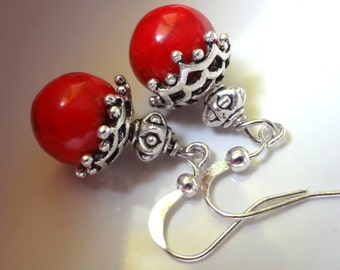 red earrings, Red Dangle Earrings, red coral Earrings, Sale