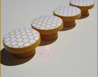 Honeycomb Knobs • Drawer Knobs • Mustard Yellow • Drawer Pulls • Honeycomb Dresser Knobs