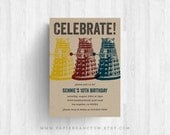 Set of 10 Colorful Daleks Doctor Who Birthday Invitations