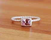 Pink Spinel Bezel Set Ring with Pearl Wire Band