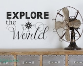 Explore the World Compass - Home Decor - Travel Vacation Decor - Vinyl Word Art Decals Stickers Lettering Quotes Text 1578