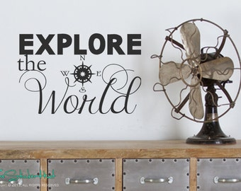 Explore the World Compass Decal - Home Decor - Travel Vacation Decor - Vinyl Word Art Decals Stickers Lettering Quotes Text 1578