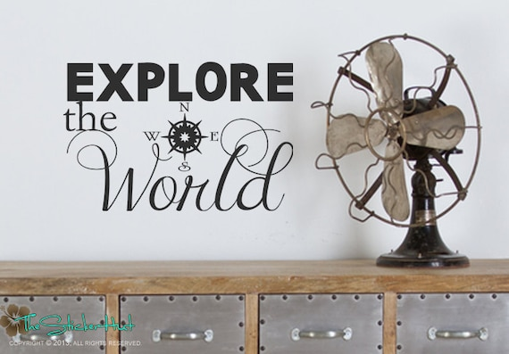 explore the world compass home decor travel vacation decor vinyl word art decals