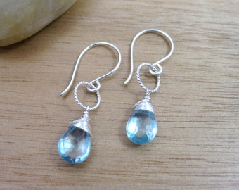 Blue Topaz Earrings Sterling Silver Sky Blue Topaz Gemstone Dangle Earrings December Birthstone Jewelry Minimalist Earrings - Pure Sky