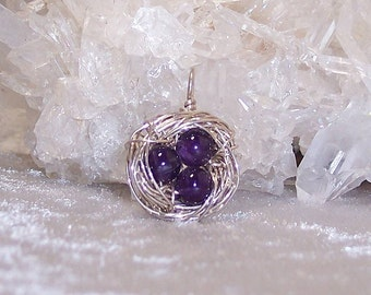 FEBRUARY EGGS - Nest Pendant in Amethyst and Sterling Silver