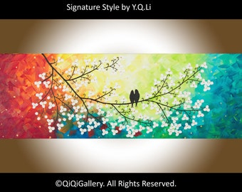 """Abstract painting Heavy Texture Palette Knife Tree Flower Love Birds Office Wall Art """"Colours of Love"""" by QIQIGALLERY"""