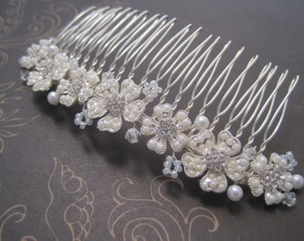 Wedding Hair Comb Silver metal ivory pearl and rhinestone wire wrapped