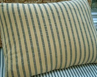 French Cottage/Down Pillow/Yellow Black Ticking/Paris Shabby Chic/Stripe/Urban/Farmhouse/Decorative/Lumbar/Throw Pillow