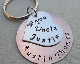 Uncle Aunt Keychain - Personalized Keychain - Custom Name- Hand-Stamped Keychian- Aunt Gift Uncle Gift -K44