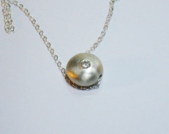 Fine silver and cubic zirconia pendant, gift