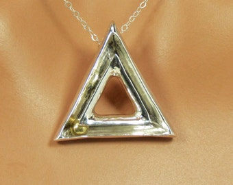 Sterling silver, kinetic, triangle pendant, statement, gift