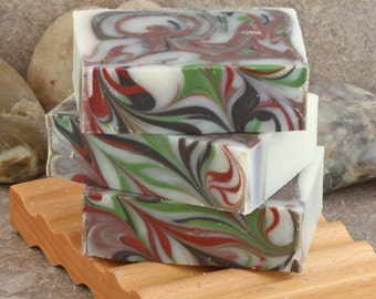 Unscented Coconut Milk Handcrafted Cold Process Soap Bar in Black, Red and Green
